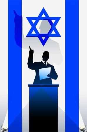 national pride: Israel flag with political speaker behind a podium  Original  illustration. Ideal for national pride concepts.