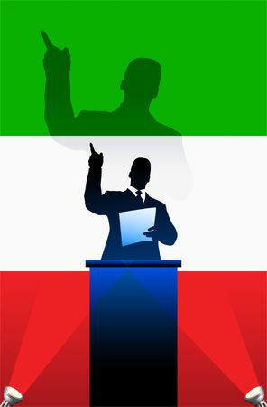national pride: Italy flag with political speaker behind a podium  Original  illustration. Ideal for national pride concepts. Stock Photo