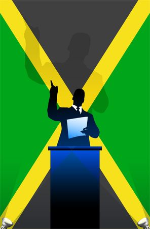 national pride: Jamaica flag with political speaker behind a podium  Original illustration. Ideal for national pride concepts. Stock Photo