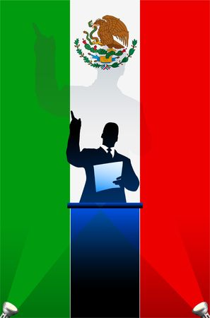 national pride: Mexico  flag with political speaker behind a podium  Original  illustration. Ideal for national pride concepts.