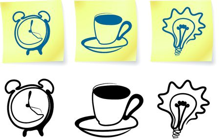 Original  illustration: household items on post it notes and silhouettes Stock Illustration - 6603751