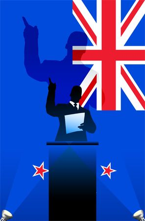 national pride: New Zealand flag with political speaker behind a podium  Original  illustration. Ideal for national pride concepts. Stock Photo