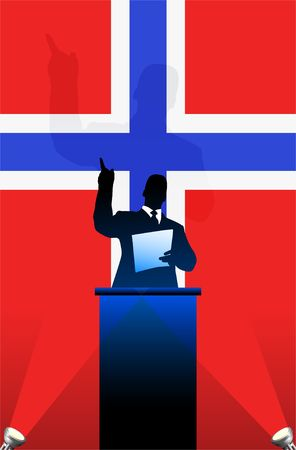 national pride: Norway flag with political speaker behind a podium  Original  illustration. Ideal for national pride concepts.