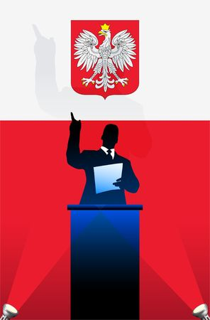 national pride: Poland flag with political speaker behind a podium  Original  illustration. Ideal for national pride concepts. Stock Photo