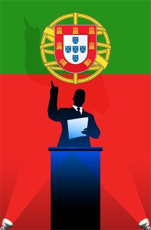 national pride:  flag with political speaker behind a podium  Original  illustration. Ideal for national pride concepts.