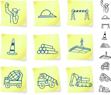 Construction Signs on Post it Notes Original  Illustration Notepad Post It
