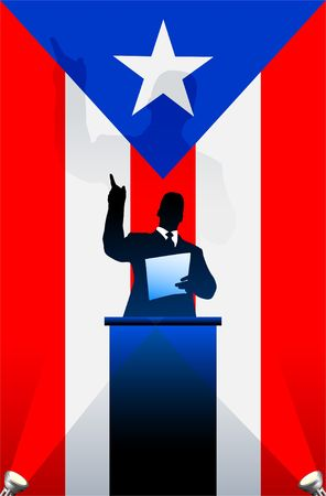 national pride: Puerto Rico  flag with political speaker behind a podium  Original  illustration. Ideal for national pride concepts.
