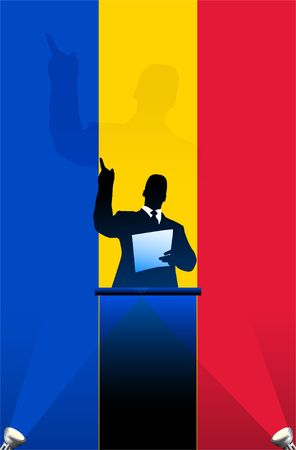 Romania flag with political speaker behind a podium  Original  illustration. Ideal for national pride concepts.