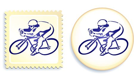 digitally generated image: Cyclist on Stamp and Button Set Original  Illustration Stamp and Button Set Stock Photo