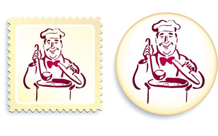 Chef on Button and Stamp Set Original Illustration Stamp and Button Set illustration