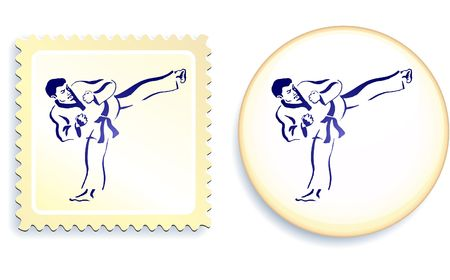 Martial Arts on stamp and button set Original  Illustration Stamp and Button Set illustration