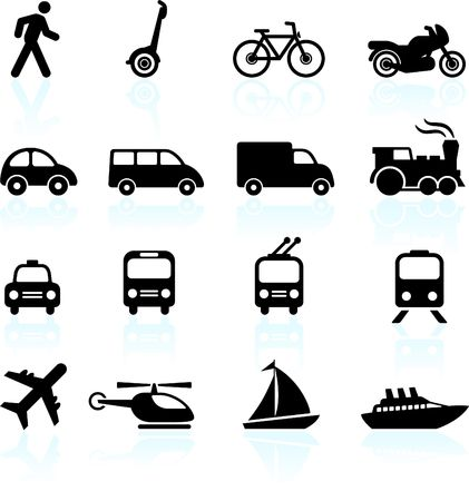 Original  illustration: Transportation icons design elements illustration