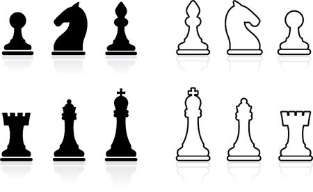 Original illustration: Simple Chess set collection illustration