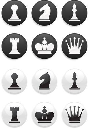 chess knight: Ilustraci�n original: blanco y negro ajedrez prendieron ronda botones