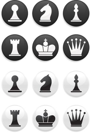 bishop chess piece: Original illustration: black and white Chess set on round buttons