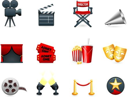spot lit: Original  illustration: Film and movies industry icon collection Stock Photo