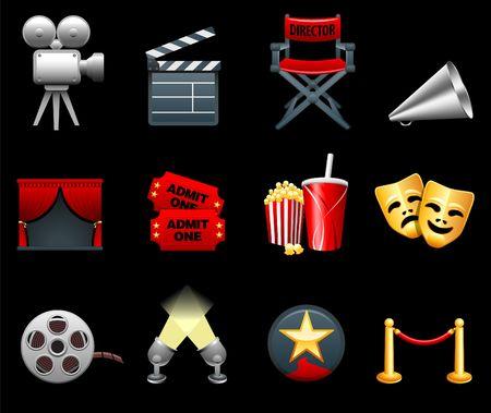 Original  illustration: Film and movies industry icon collection Archivio Fotografico