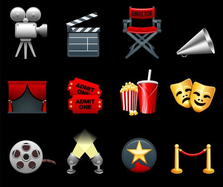 Original  illustration: Film and movies industry icon collection Stock Photo