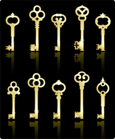 Original vector illustration: antique keys collection illustration