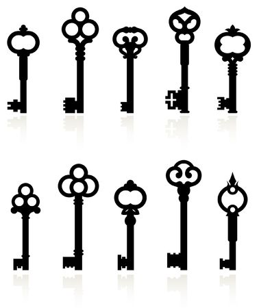 Original illustration: antique keys collection Reklamní fotografie