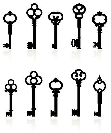 skeleton key: Original illustration: antique keys collection Stock Photo