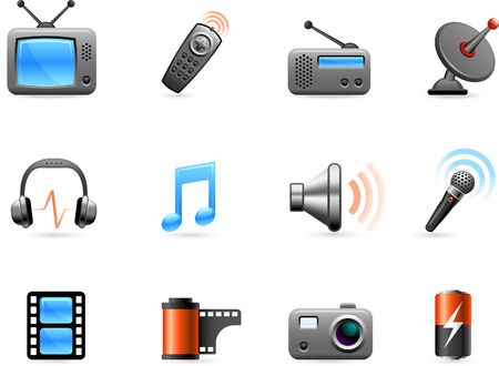 Original  illustration: Electronics and Media icon collection Stock Illustration - 6604759