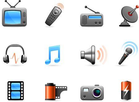 Original  illustration: Electronics and Media icon collection Stock Illustration - 6604759
