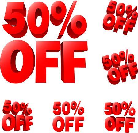 50% off Discount sale sign. 3D illustration.  Reklamní fotografie