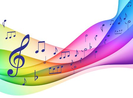 yellow note: Color Spectrumwave with Musical Notes Original  Illustration