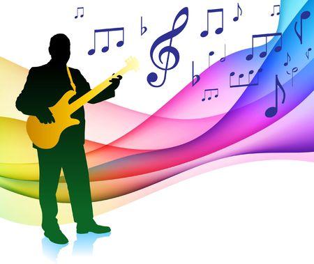 Guitar Player op musical notitie kleuren spectrum originele illustratie  Stockfoto