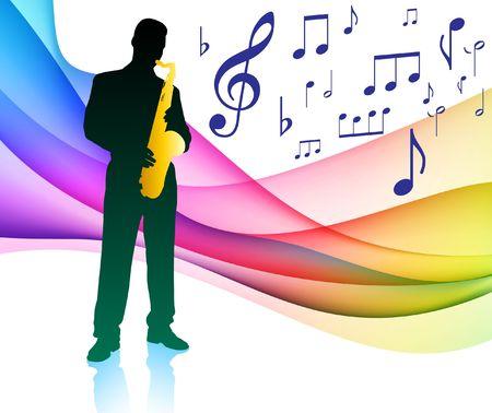 Sax Player op musical notitie kleuren spectrum originele illustratie