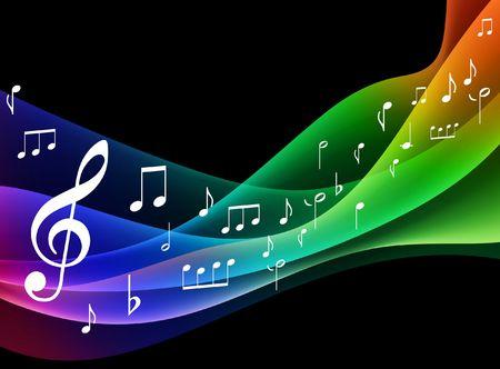 notes musicales: Vague de spectre de couleur avec des notes de musique originale illustration