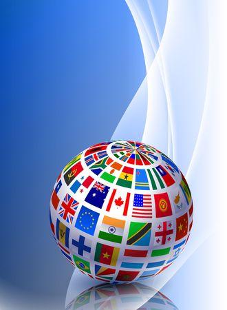 Flag Globe on Abstract Color Background Original Illustration