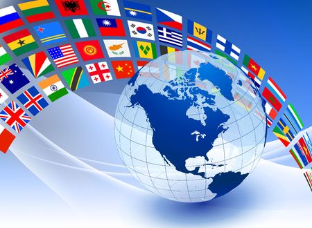 nazioni unite: Globo con bandiera banner su astratto colore sfondo illustrazione originale