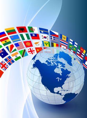 Globe with Flag Banner on Abstract Color Background Original Illustration illustration