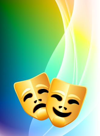 Comedy and Tragedy Masks on Abstract Color Background Original Illustration illustration