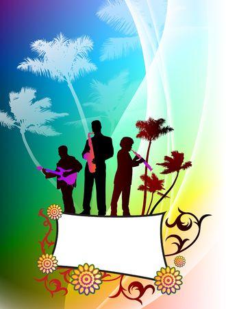 Live Music Band on Abstract Color Background Original Illustration illustration