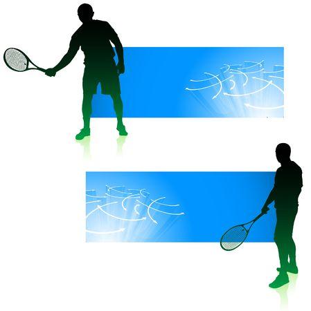 wimbledon: Tennis Player with Blue Banners Original  Illustration