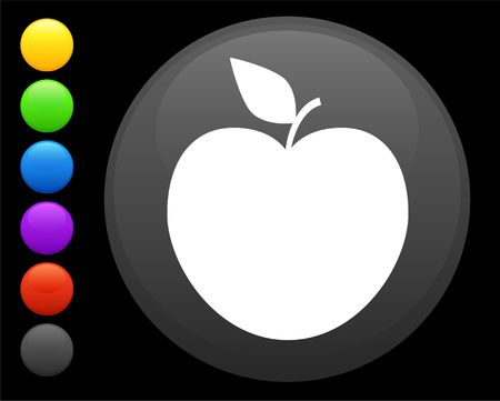 blue button: apple icon on round internet button original  illustration 6 color versions included