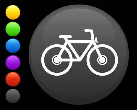bicycle icon on round internet button original  illustration 6 color versions included Stock Illustration - 6617013