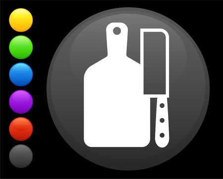 butcher knife: butcher knife and butting board icon on round internet button original  illustration 6 color versions included