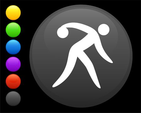 bowling icon on round internet button original illustration 6 color versions included  illustration