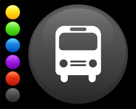 bus icon on round internet button original  illustration 6 color versions included  illustration