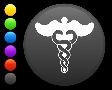 caduceus icon on round internet button original  illustration 6 color versions included  illustration