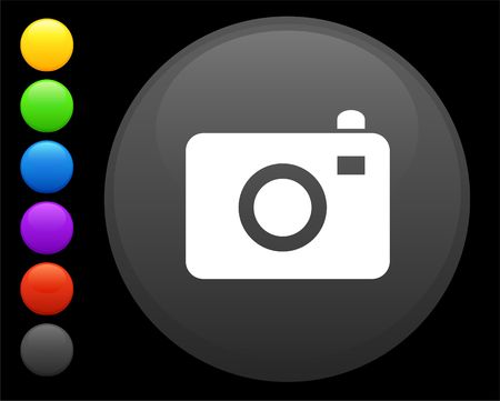 camera icon on round internet button original  illustration 6 color versions included  Stock Illustration - 6617305