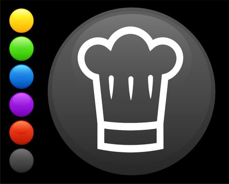 expensive food: chef hat icon on round internet button original  illustration 6 color versions included  Stock Photo