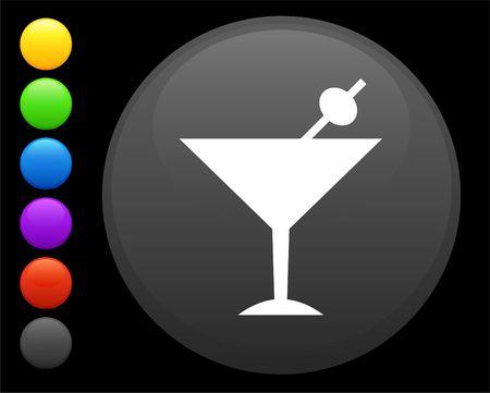 martini icon on round internet button original illustration 6 color versions included