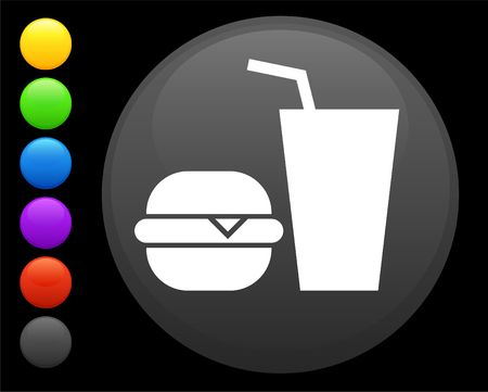 expensive food: hamburger and soda icon on round internet button original  illustration 6 color versions included