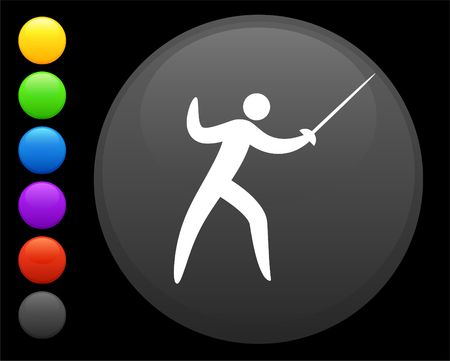 fencing icon on round internet button original  illustration 6 color versions included Imagens