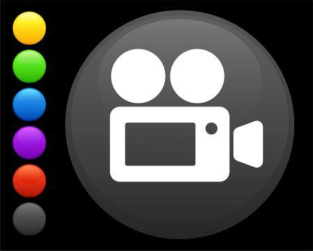 film camera icon on round internet button original  illustration 6 color versions included  illustration